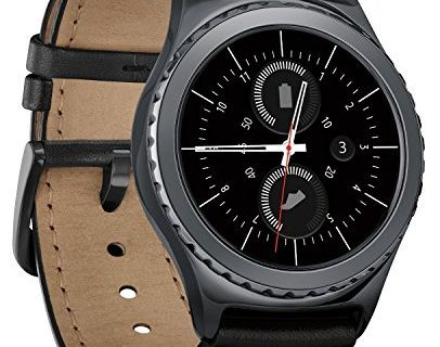 Samsung Gear S2 Classic Smartwatch w/ Rotating Bezel and Leather Strap – Black