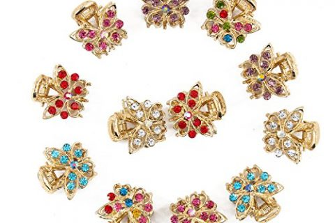 Yeshan Set of 12pcs Butterfly Design Golden Alloy Mini Claw Clip,with Rhinestone and Crystal Barrette Jaw Hair Clip