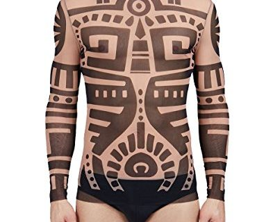 COOFANDY Men's Hip Hop Tattoo Tribal Maui Slim Nude Shirt