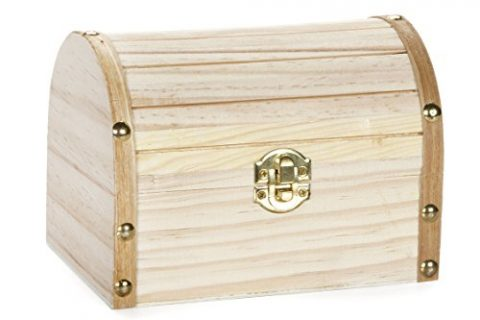 Darice Wood Chest Hinged with Clasp, 6.1 x 4.1 x 4.3-Inch