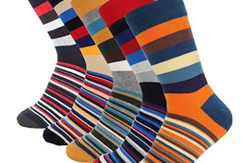Mens Dress Casual Socks Cotton Crew Socks 5 Color Pack Hoyols M Size