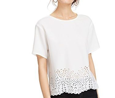 Romwe Women's Short Sleeve Cut Out Summer Blouses Causal T-Shirts White XS