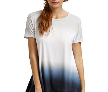 Romwe Women's Short Sleeve Tie Dye Tunic Tops Casual Swing Tee Shirt Blouse White M