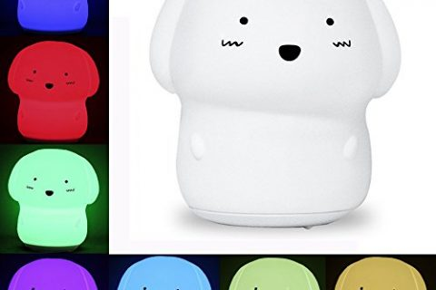 KssFire Rechargeable Silicone Dog Night Light Soft Cute Dog Night Lamp Multicolor Voice Message Recording Tap Control for Kids Children Adults Gift and Bedroom