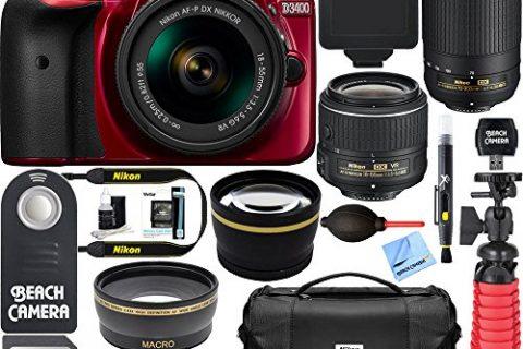 Nikon D3400 24.2 MP DSLR Camera + AF-P DX 18-55mm VR & AF-P DX 70-300mm ED Lens + Bundle 32GB SDXC Memory + Photo Bag + Wide Angle Lens + 2x Telephoto Lens + Flash + Remote +Tripod+Filters Red
