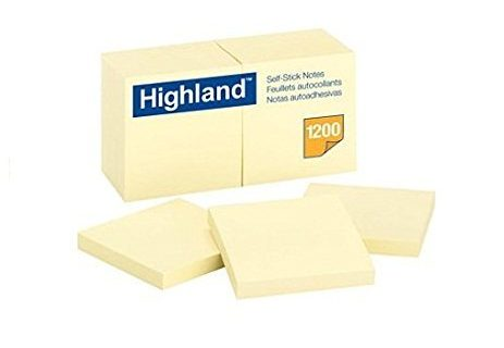 Highland Notes, 3 x 3-Inches, Yellow, 12-Pads/Pack 2, 3 in x 3 in
