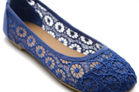Ollio Women's Ballet Shoe Floral Lace Breathable Flat9 BM US, Royal Blue