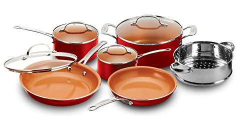 Gotham Steel 10-Piece Kitchen Set with Non-Stick Ti-Cerama Coating by Chef Daniel Green – Includes Skillets, Fry Pans, Stock Pots and Steamer Insert – Red