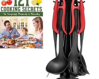 6 Piece Kitchen Cooking Utensils Set With Built-in Stands and Bonus Utensil Holder, Soft Handle, Easy to Grip,with Cooking Ebook