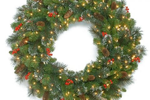 National Tree 30 Inch Crestwood Spruce Wreath with Silver Bristles, Cones, Red Berries and 70 Battery Operated Warm White LED Lights with Timer CW7-306-30WBC1