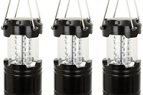Everyday Essentials 3 Pack Ultra Bright LED Collapsible Water Resistant Camping Lantern Flashlights NEWEST VERSION Black 3-Count