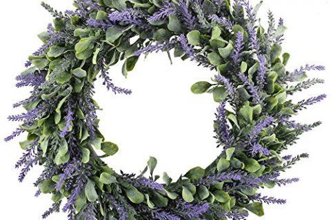 GTIDEA 16″ Artificial Lavender Wreaths Flowers Arrangements Front Door Wall Home DIY Floor Garden Office Wedding Decor