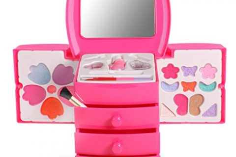 Washable Mini Cosmetic Vanity Makeup Case With Mirror