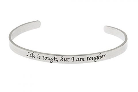 "High Polished Stainless Steel ""Life Is Tough, But I Am Tougher"" Inspirational Bracelet"