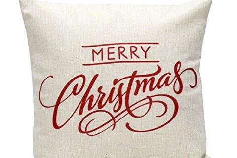 Wonder4 Sofa Pillow Case, Merry Christmas Decorative Pillow Cover 18 x 18″ cotton linen fabric I