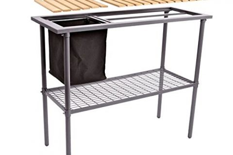 Jewett Cameron Lumber Corp Potting Bench – Weatherguard Garden and Greenhouse Workbench Portable Gardening Center – Features removable trimmings bin and adjustable shelf 39″ W x 32″ H x 15″ D