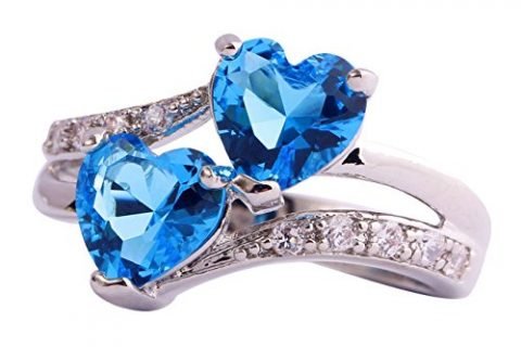 Emsione 925 Sterling Silver Plated Created Heart Blue&White Topaz Womens Promise Ring