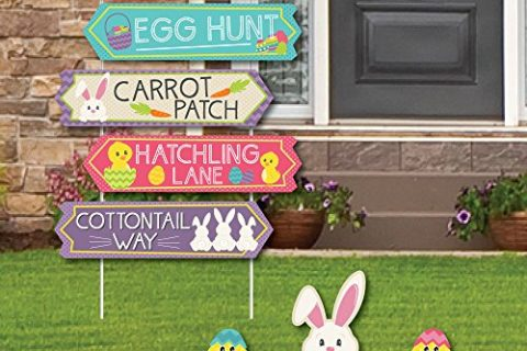 Street Sign Cutouts – Big Dot of Happiness Hippity Hoppity – Easter Bunny Party Yard Signs & Decorations – Set of 8