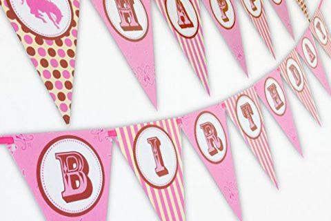Cowgirl Happy Birthday Banner Pennant