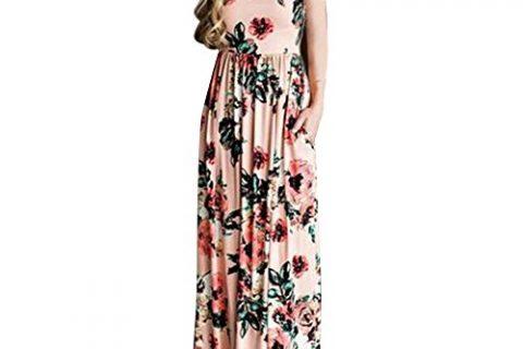 HOOYON Women's Casual Floral Printed Long Maxi Dress with PocketsS-5XL,Pink Short,Small