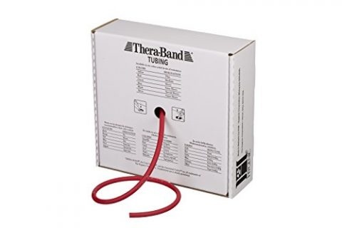 TheraBand Resistance Tubes, Professional Latex Elastic Tubing For Full Body, Core Exercise, Physical Therapy, Pilates, At-Home Workouts, Rehab, 100 ft, Red, Medium, Beginner Level 3
