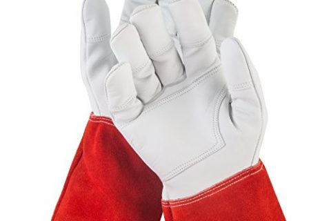 NoCry Long Leather Gardening Gloves – Puncture Resistant with Extra Long Forearm Protection and Reinforced Palms and Fingertips, Size Large