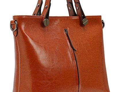 Heshe Womens Leather Shoulder Handbags Work Totes Top Handle Bag Satchel Designer Purse Cross Body Bags Brown-R