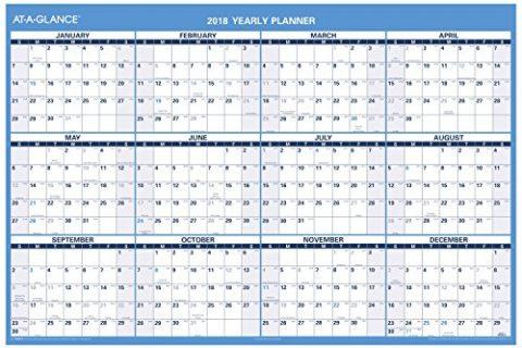 at-A-Glance Wall Calendar, January 2018 – December 2018, 48″ x 32″, Reversible, Erasable, Horizontal PM30028