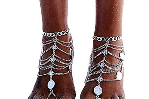 SUNSCSC 1 Pair Boho Vintage Silver Plated Coin Blessing Symbol Tassel Anklets Foot Jewelry