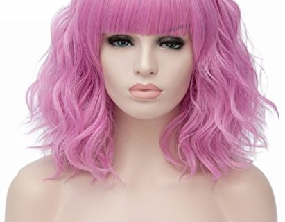 Women's Short Curly Wig 14 Inches Bob Wigs with Bangs Synthetic Full Wig for Women Cosplay Party Fancy Dress
