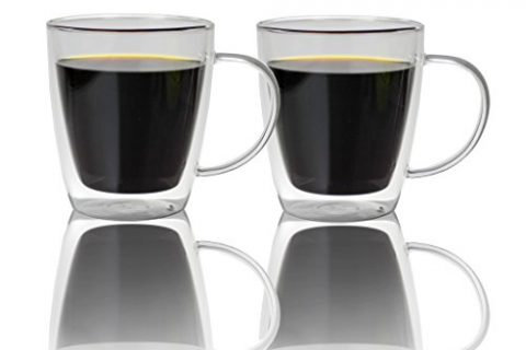 Large Double Walled Glass Coffee Mugs 16 oz, Set of 2, Dishwasher & Microwave Safe Insulated Glass Cups for Coffee, Tea or Cold Drinks by Summit One