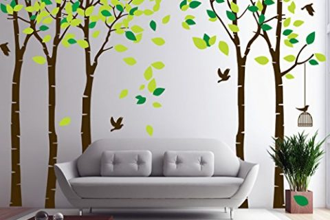 CaseFan 5 Trees Wall Decal Forest Mural Paper for Bedroom Kid Baby Nursery Vinyl Removable Diy Sticker 103.9×70.9,Green+Brown