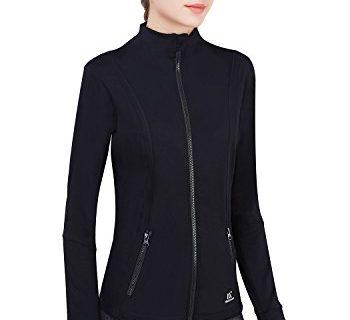 Matymats Women's Active Full-Zip Track Jacket Yoga Running Athletic Coat with Thumb Holes Slim Fit