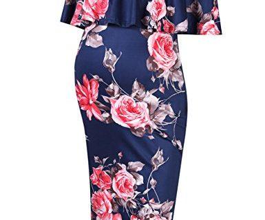 MissQee Women's Maternity Dress Off Shoulder Casual Maxi Dress