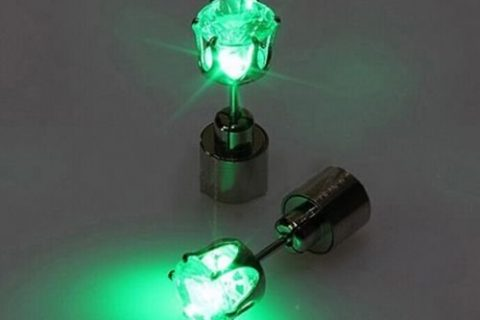 IC ICLOVER Led earring,1 Pairs Cool Shiny Glowing Led Lighting Stud Earring For Hallowmas Thanksgiving Day Christmas Gift-Green