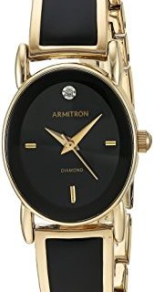 Armitron Women's 75/5423BKGP Diamond-Accented Dial Gold-Tone and Black Bangle Watch
