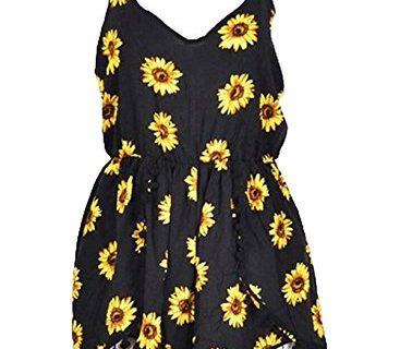Lanzom Women Summer Vintage V Neck Straps Sunflower Print Romper Jumpsuit