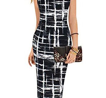 Faithtur Women's Printed Patterned Casual Slimming Fitted Stretch Bodycon Dress Label XL