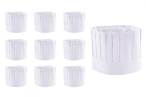 Disposable 9″ Paper Chef Tall Hat Set for Home Kitchen, Food Restaurants, Classes 10 Pack
