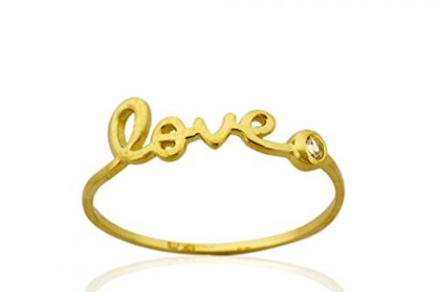 "10K Gold ""LOVE"" Ring with Bezel 0.03 cttw Cubic Zirconia ,Size8"