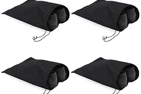 Bukm Portable Travel Shoe Bags, High-Grade Nylon Storage Shoe Bag with Drawstring For Men and Women,Travel Accessories 16″x12″Pack 4, Black