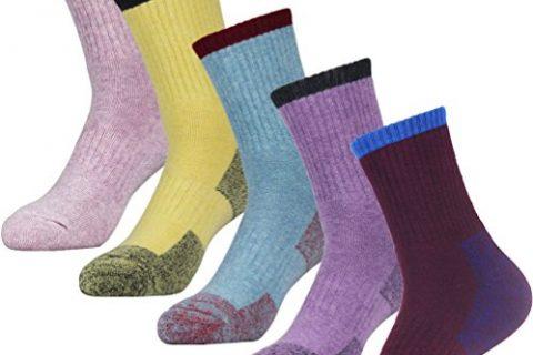 YUEDGE 5 Pairs Women's Wicking Cushion Multi Performance Hiking Trekking Walking Socks Year Round
