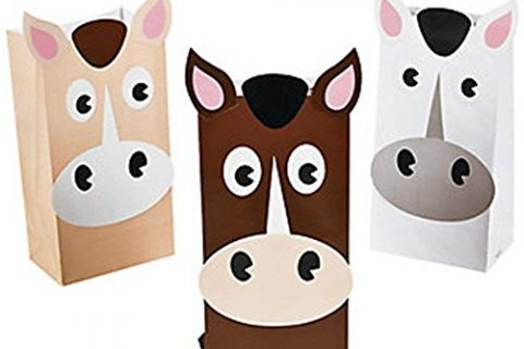 Set of 12 Horse Theme Treat Bags in Beige, Brown and White