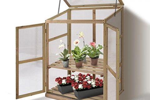 Giantex Garden Portable Wooden Cold Frame Greenhouse Raised Flower Planter Protection 30.0″X22.4″X42.9″