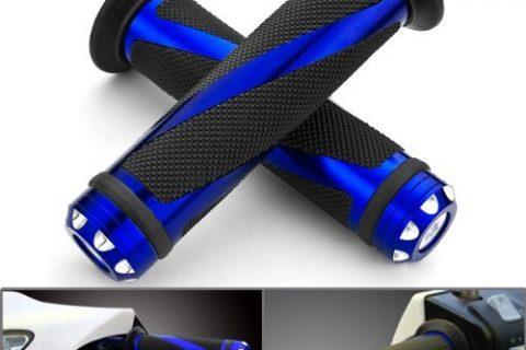 Astra Depot 2pcs Universal Blue Motorcycle Grips with Billet Aluminum Bar End Cap Plug Slider For 7/8