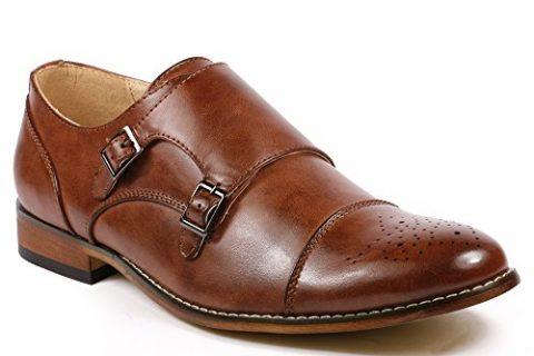 Metrocharm MC100 Men's Perforated Cap Toe Double Monk Strap Dress Shoes