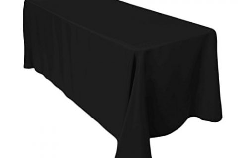 LinenTablecloth 90 X 132 In. Rectangular Economy Polyester Tablecloth black