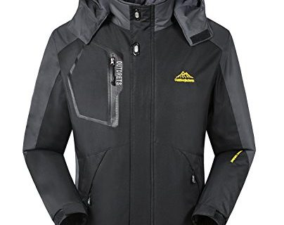 iLoveSIA Men's Mountain Waterproof Fleece Ski Jacket Windproof Rain Jacket Black Size M