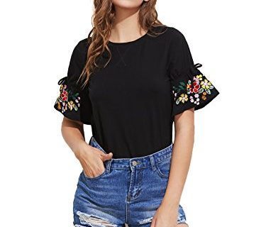 Floerns Women's Embroidered Bell Sleeve Summer T Shirt