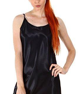 Simplicity Women's Sexy Satin Silk Chemises Slip Dress Sleepwear, Black,L